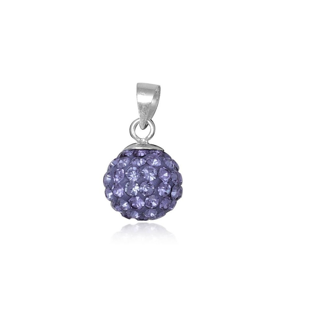 Purple Crystal Bead Pendant and 925 Silver