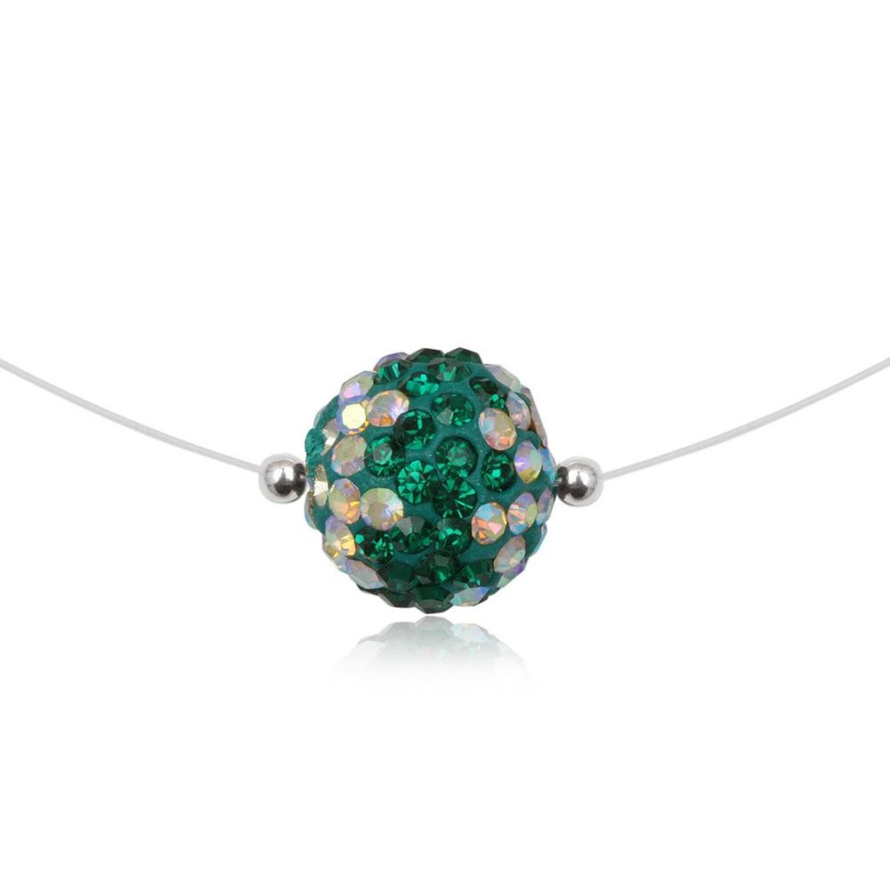 Green Crystal Bead Invisible Nylon Necklace and 925 Silver