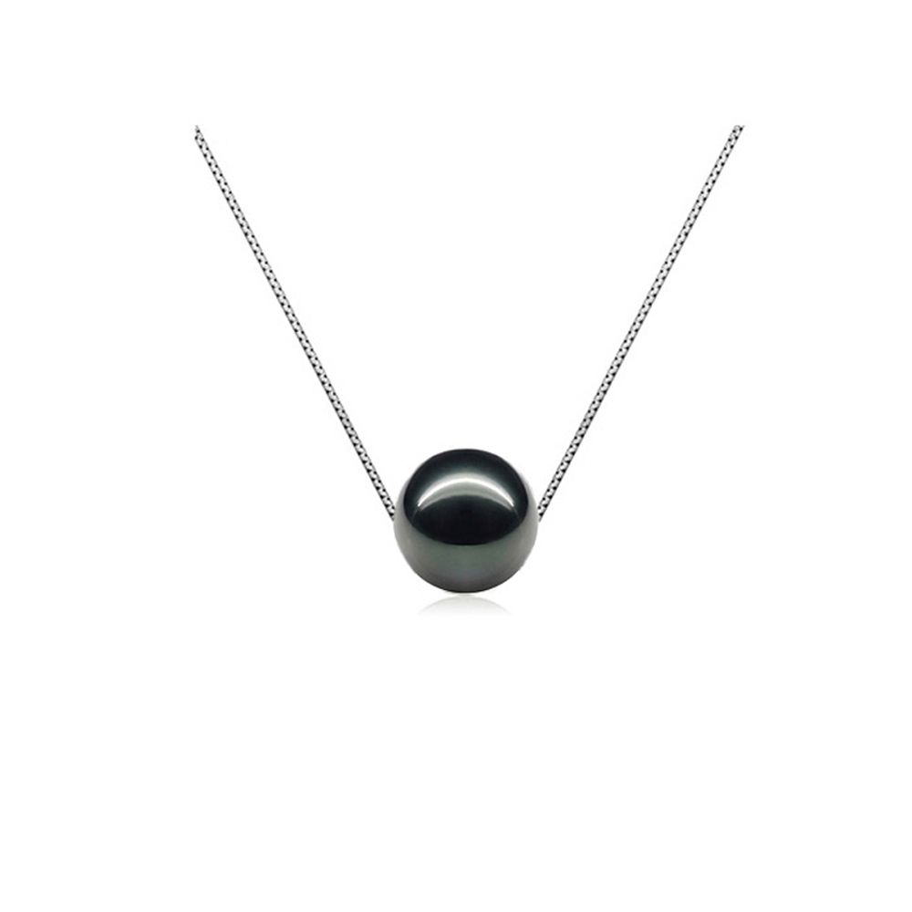 Black Freshwater Pearl Necklace and Silver Mounting