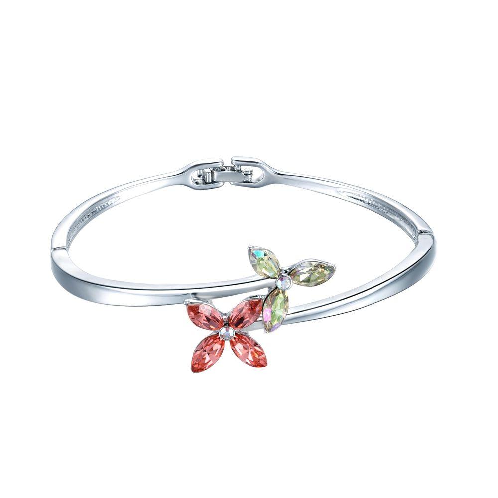 Swarovski - Pink and White Swarovski Crystal Elements Flower and Rhodium Plated Bracelet Bangle
