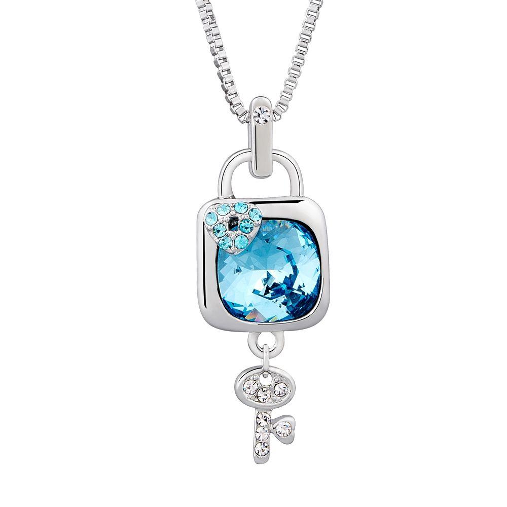 Swarovski - Blue Swarovski Crystal Elements Padlock and Key Pendant and Rhodium Plated