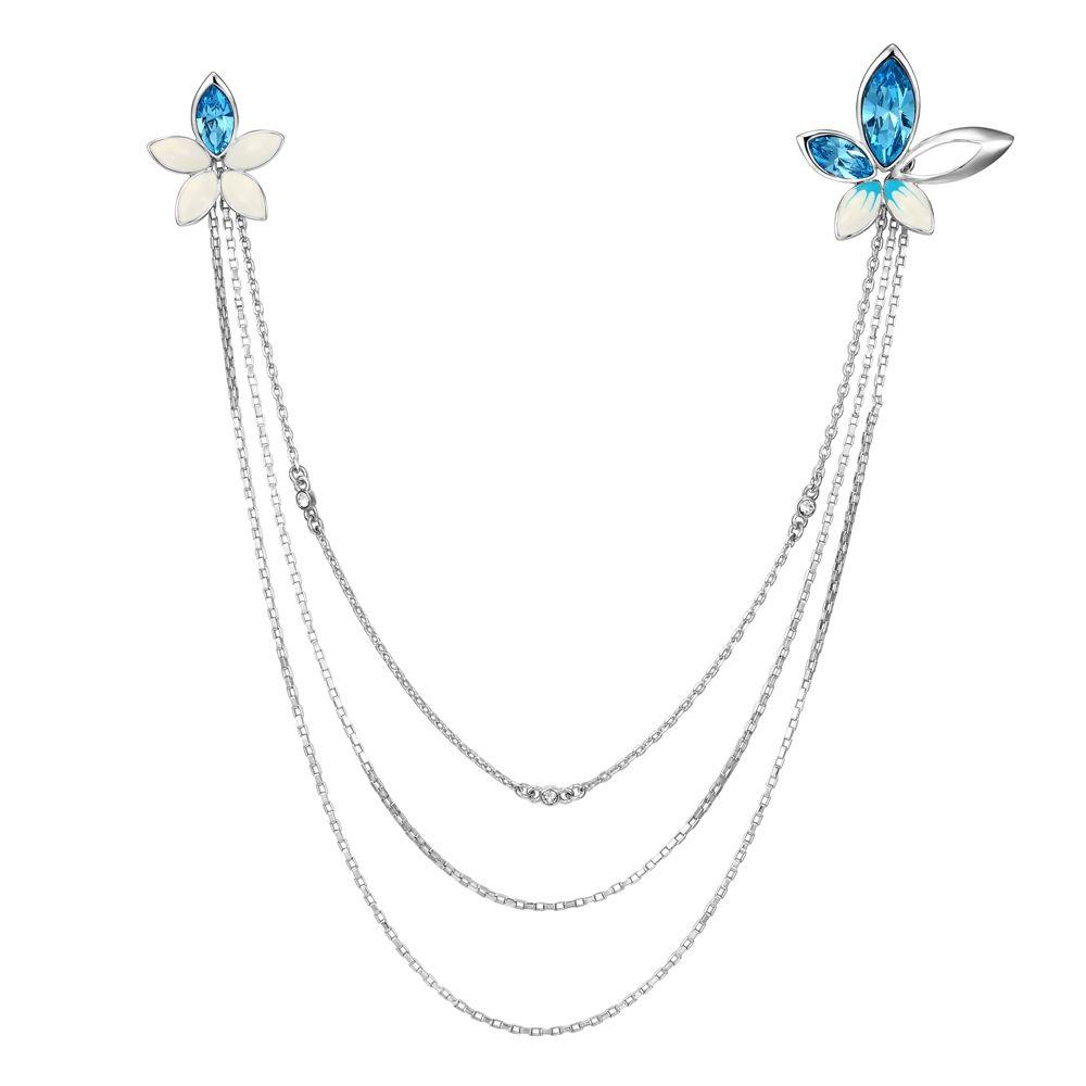 Swarovski - Blue Swarovski Crystal Elements Button Flower Necklace and Rhodium Plated