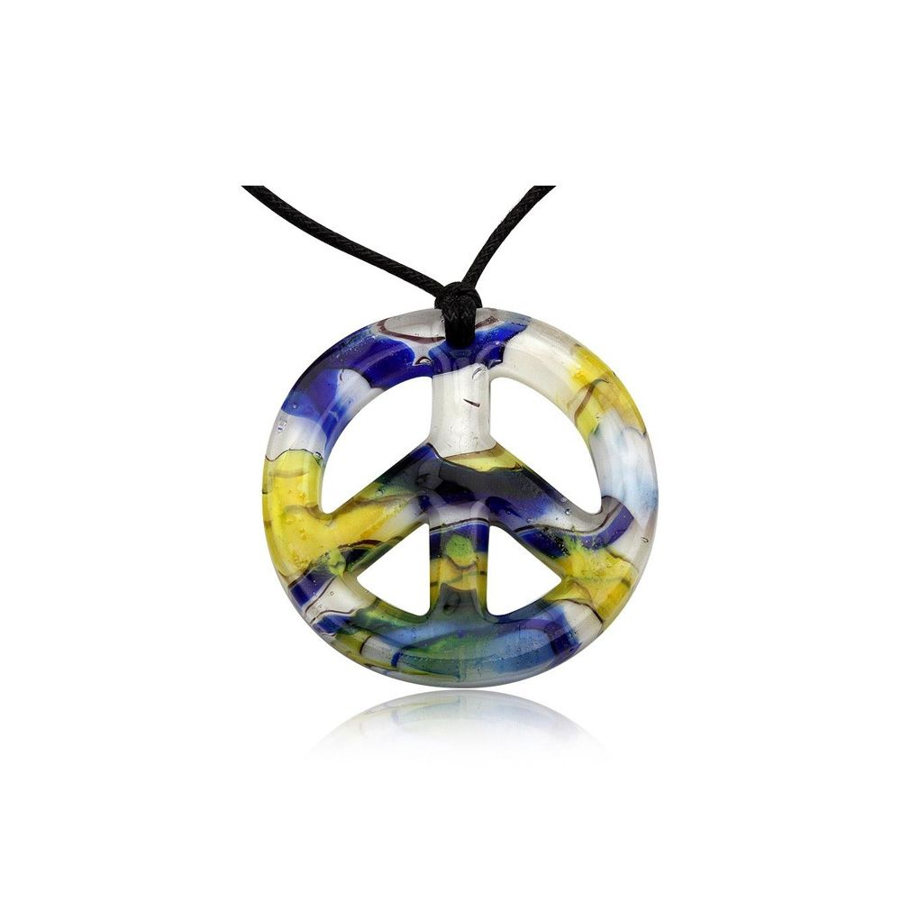 Peace Pendant Yellow Murano Glass
