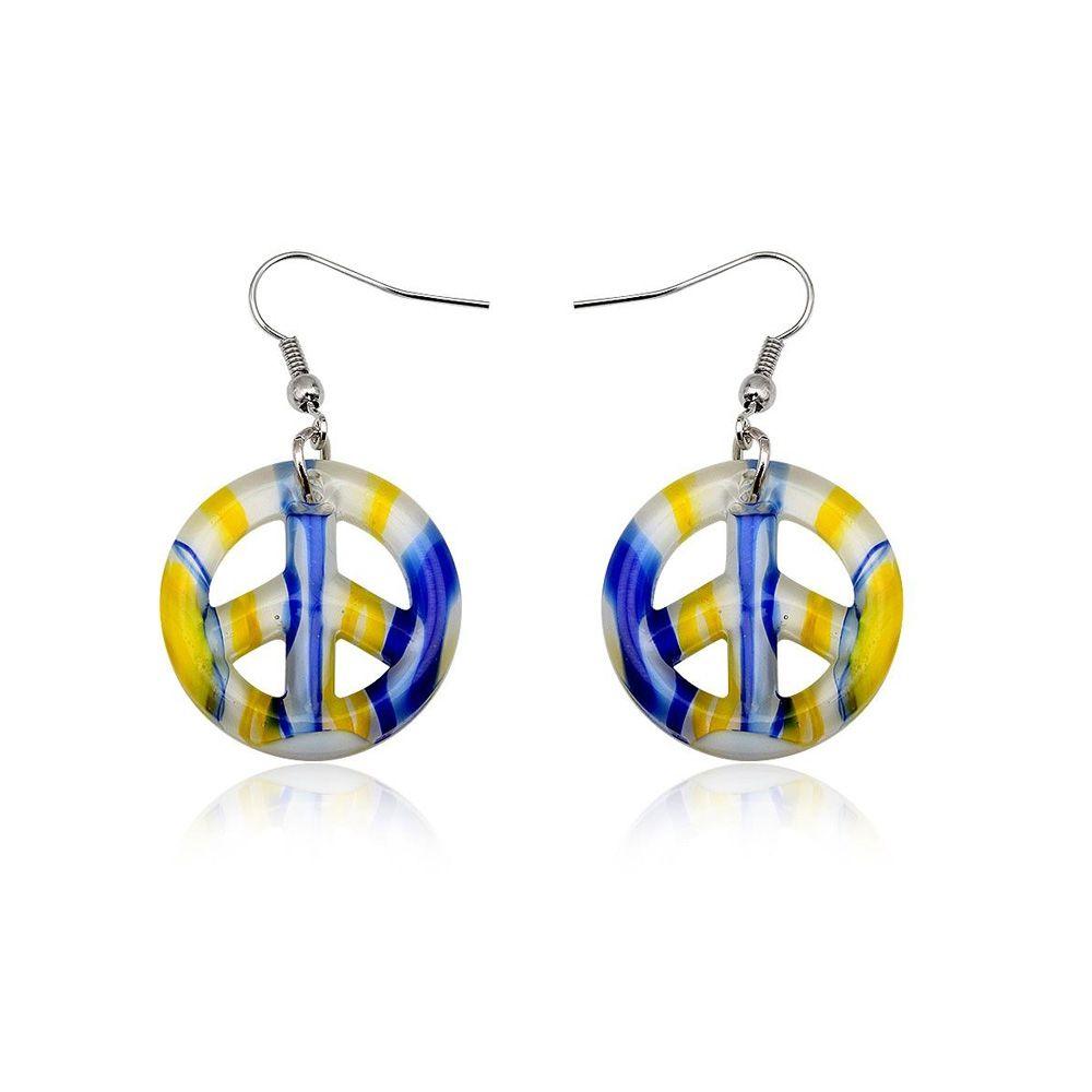 Earrings Peace Yellow Murano Glass