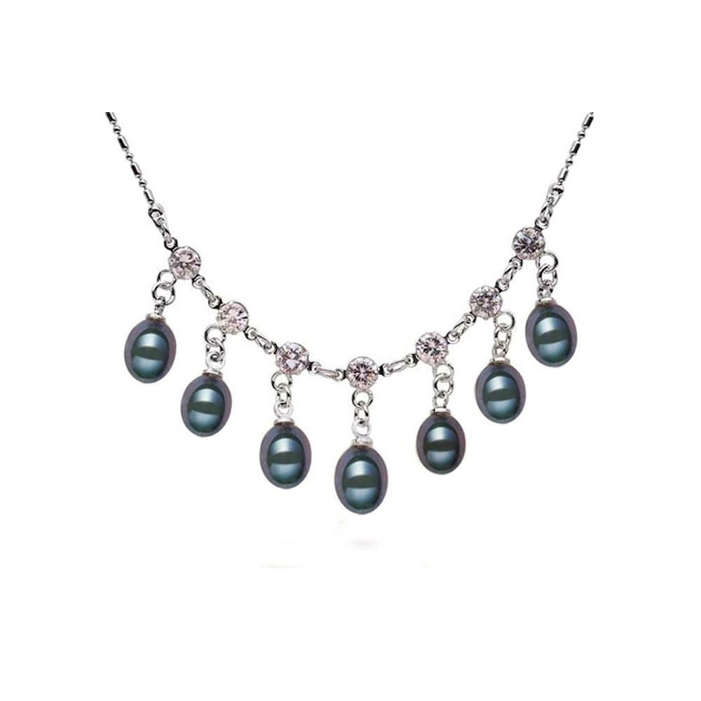 Black Freshwater Pearl and Cz Stones Necklace and 925 Silver