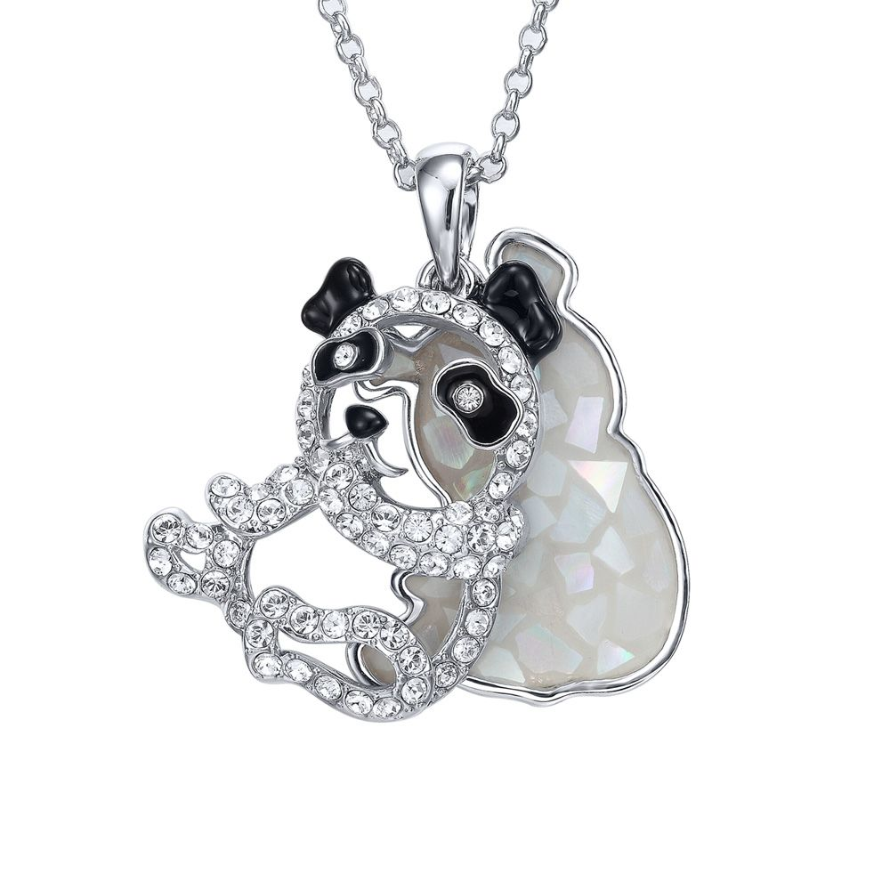 Swarovski - Abalone and White Swarovski Crystal Elements Panda Pendant