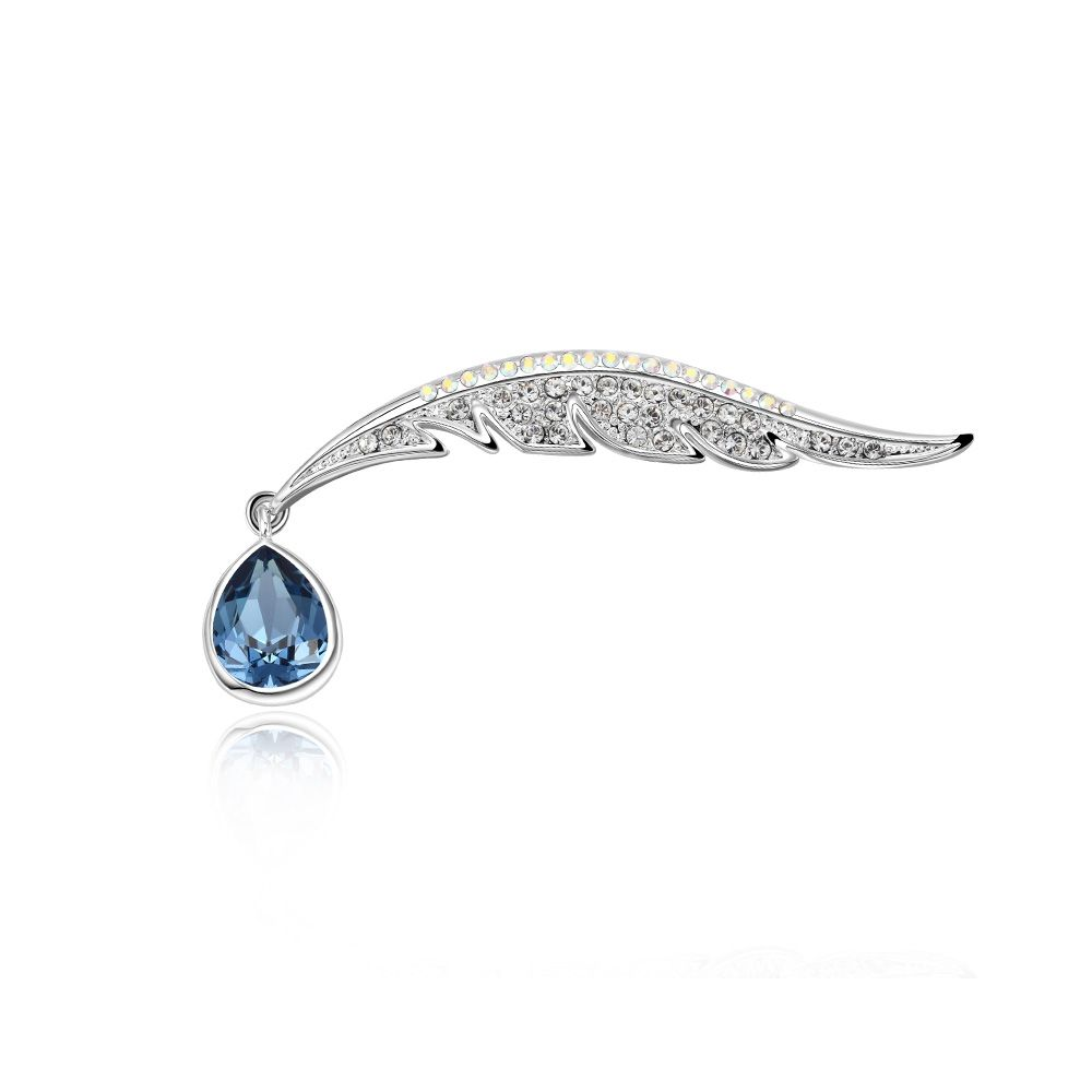 Swarovski - Blue Peacock Feather Swarovski Crystal Brooch