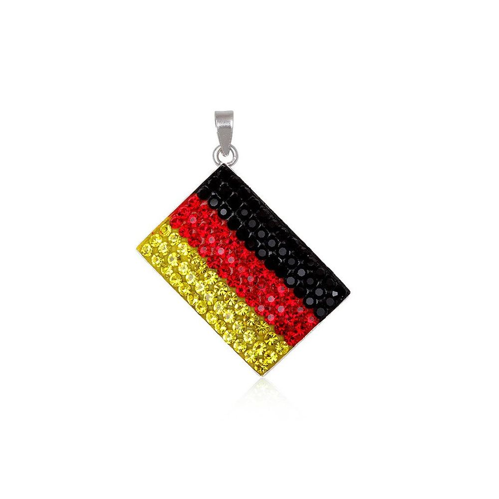 Germany Flag Crystal Pendant and 925 Silver