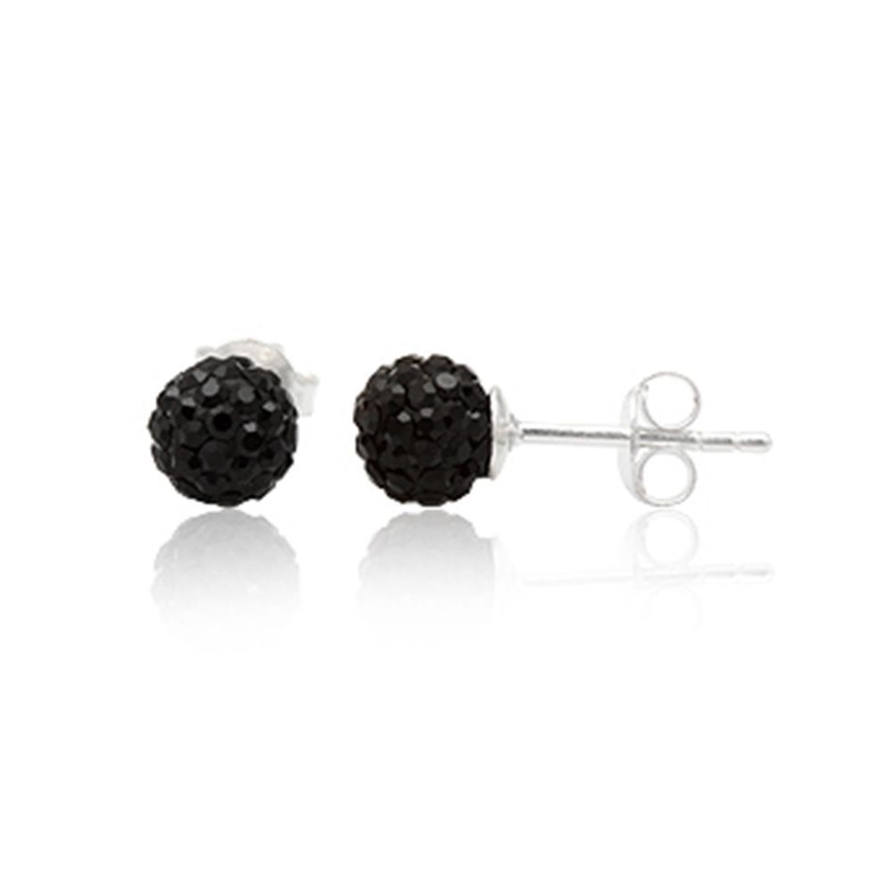 Black Crystal Earrings and 925 Silver
