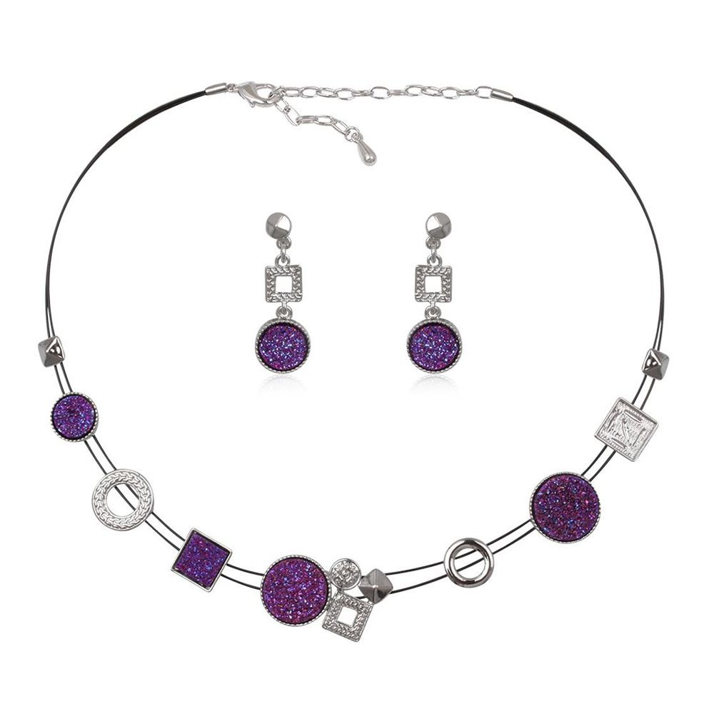 Purple Druzy Crystal Necklace and Earrings Set