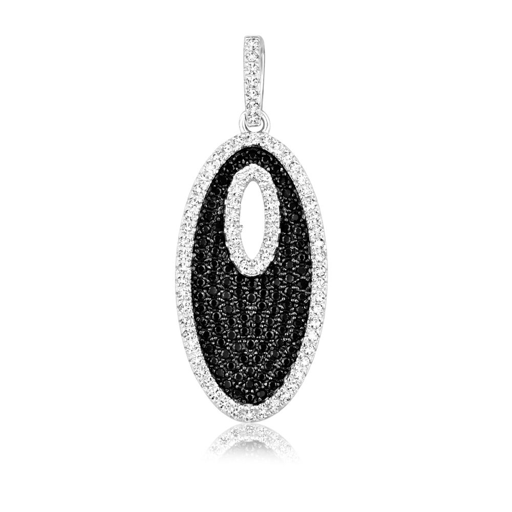 Swarovski - Black and White Swarovski Zirconia Crystal Pendant and Silver
