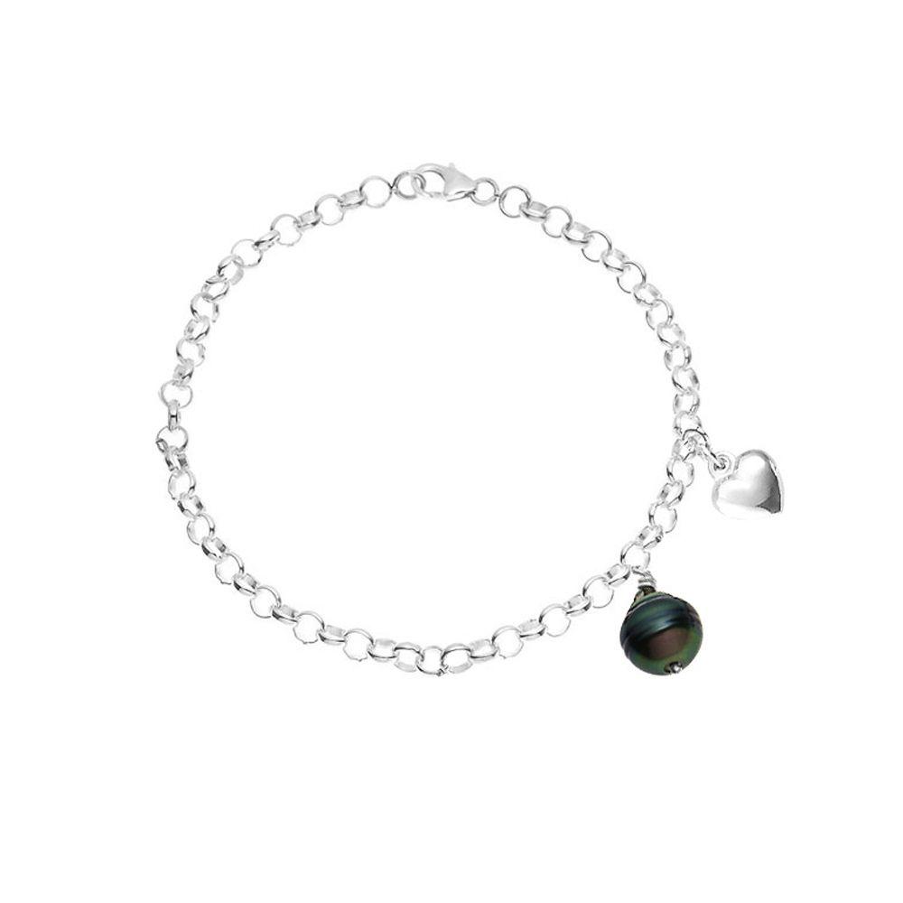 Women's Bracelet in Sterling Silver 925/1000, 9 mm Black Rimmed Tahitian Pearl and Heart Pendant