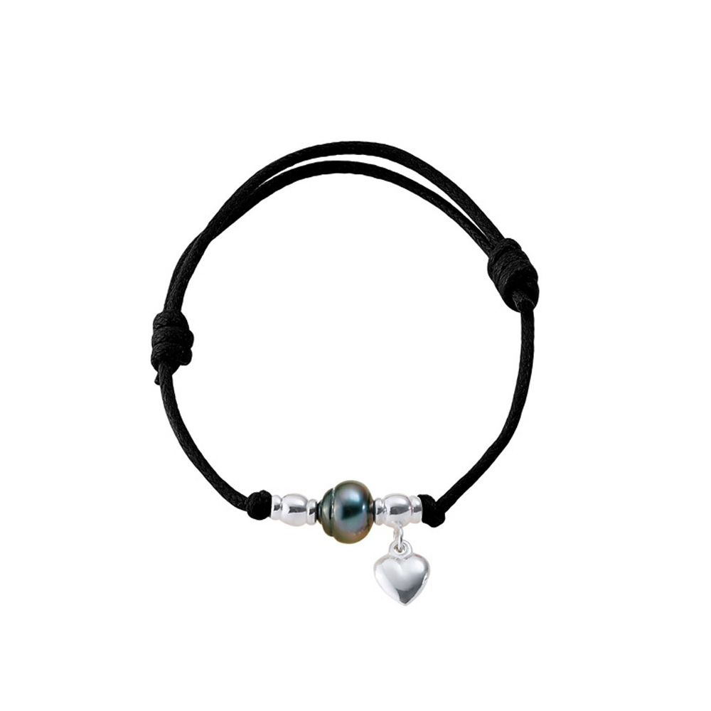 Tahitian Pearl Heart 925 Sterling Silver and Black Waxed Cotton Bracelet