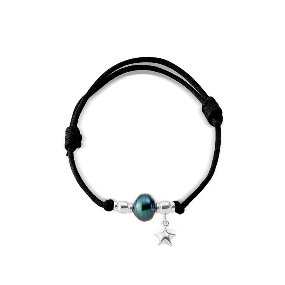 Tahitian Pearl Bracelet, 925 Sterling Silver Black Waxed Cotton