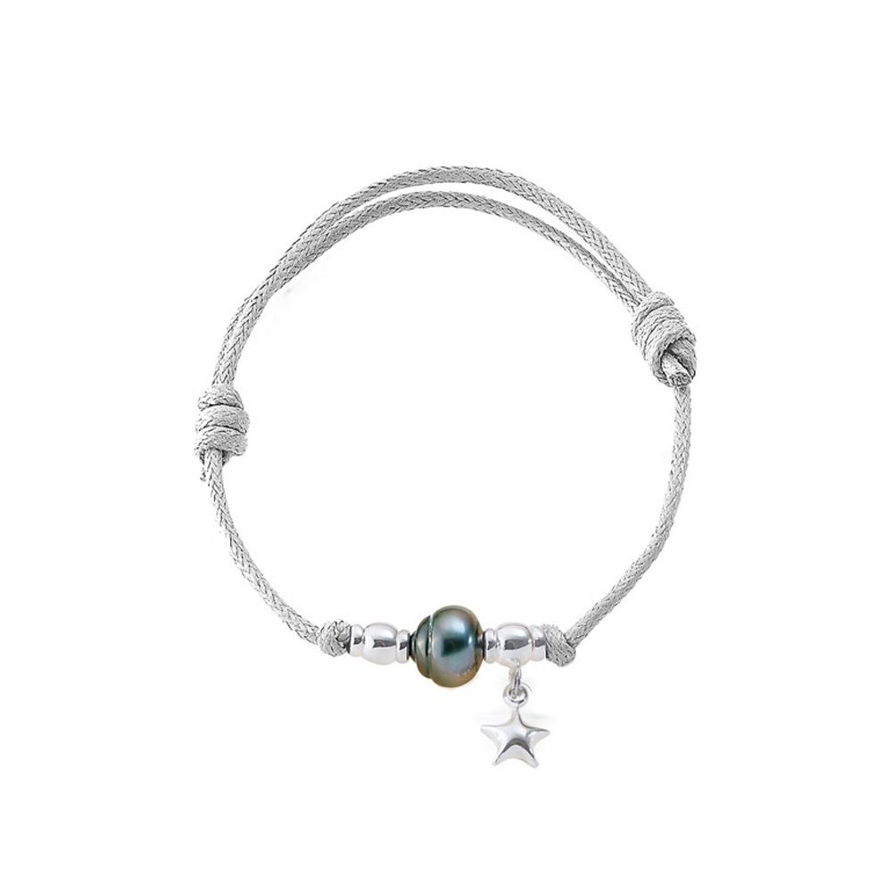 Tahitian Pearl Bracelet, 925 Silver Star and White Waxed Cotton