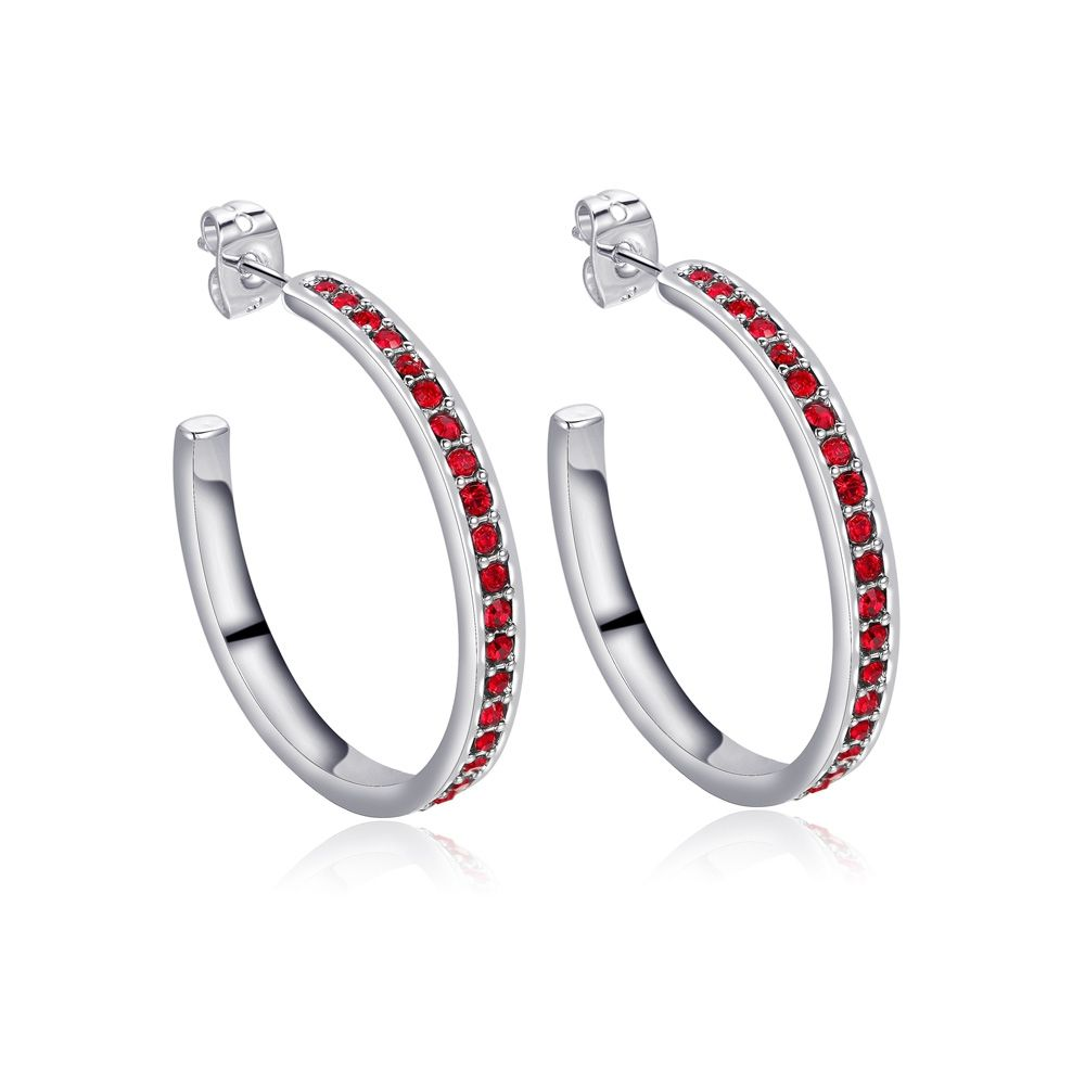 Swarovski - Red Swarovski Crystal Elements Hoop Earrings