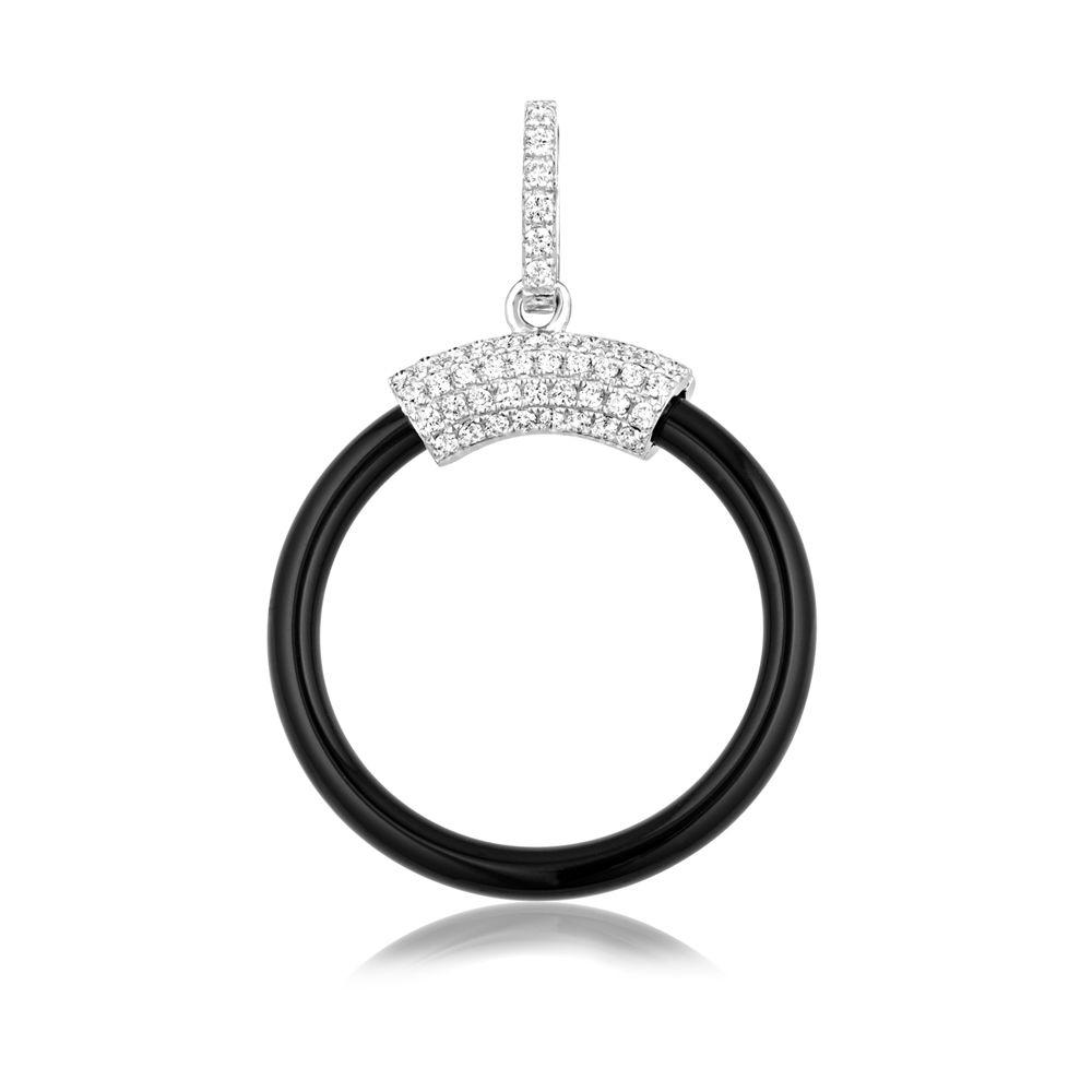 Swarovski - Black Ceramic Circle Pendant, 925 Silver and White Swarovski Crystal Zirconia