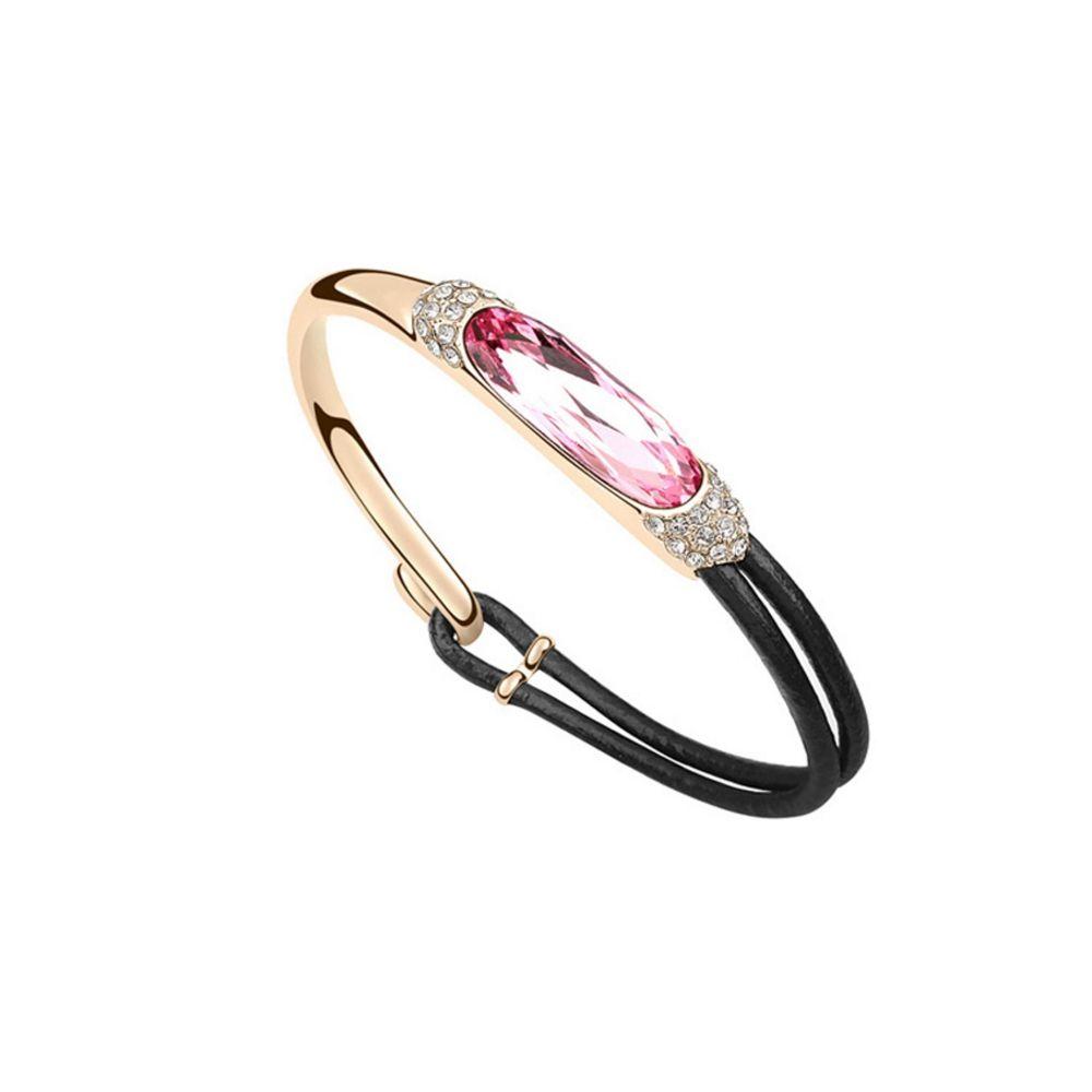 Swarovski - Black Leather and Pink Swarovski Crystal Elements Bracelet