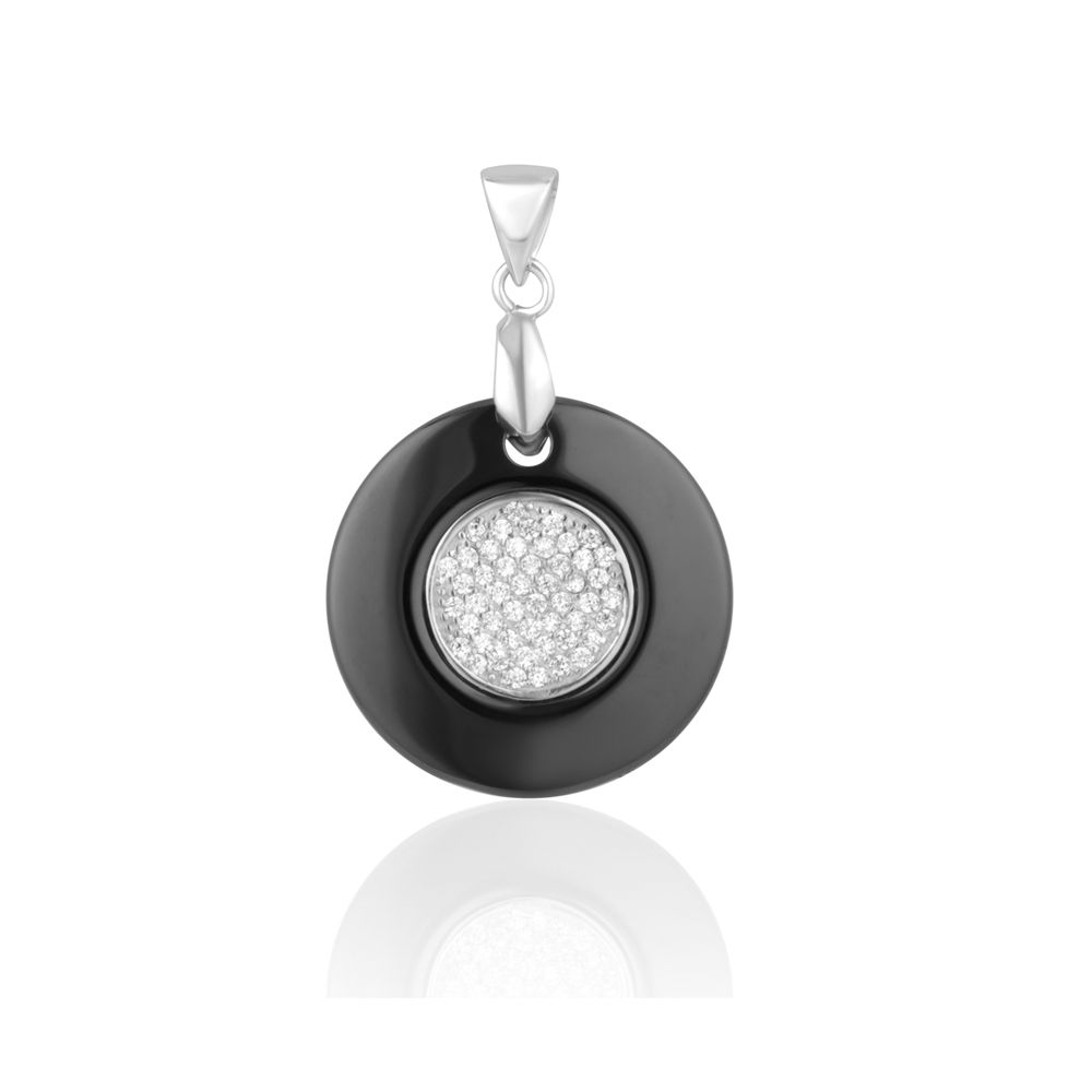 Black Ceramic Circle Pendant, 925 Silver and White Cubic Zirconia Crystal