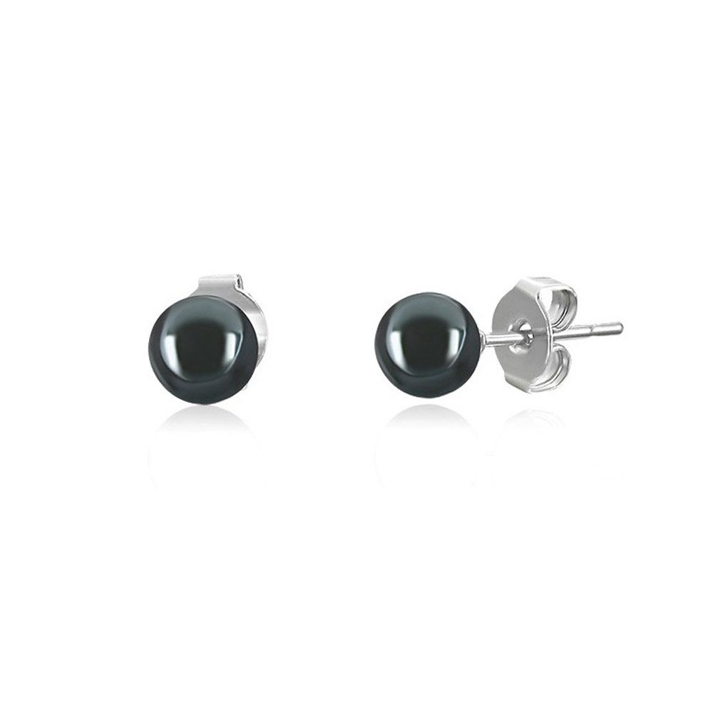 Black Hematite Pearls Earrings and 925 Silver