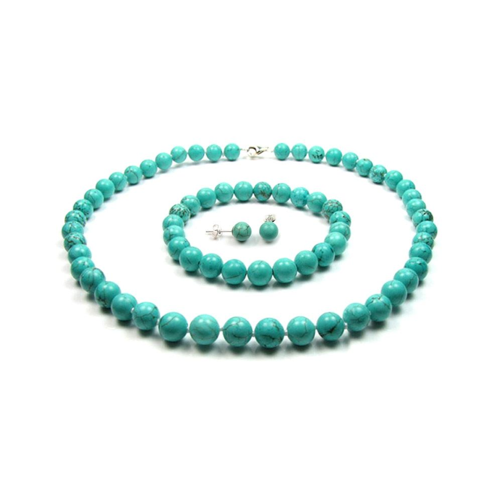 Turquoise Pearl Necklace, Bracelet and Earrings Women Set