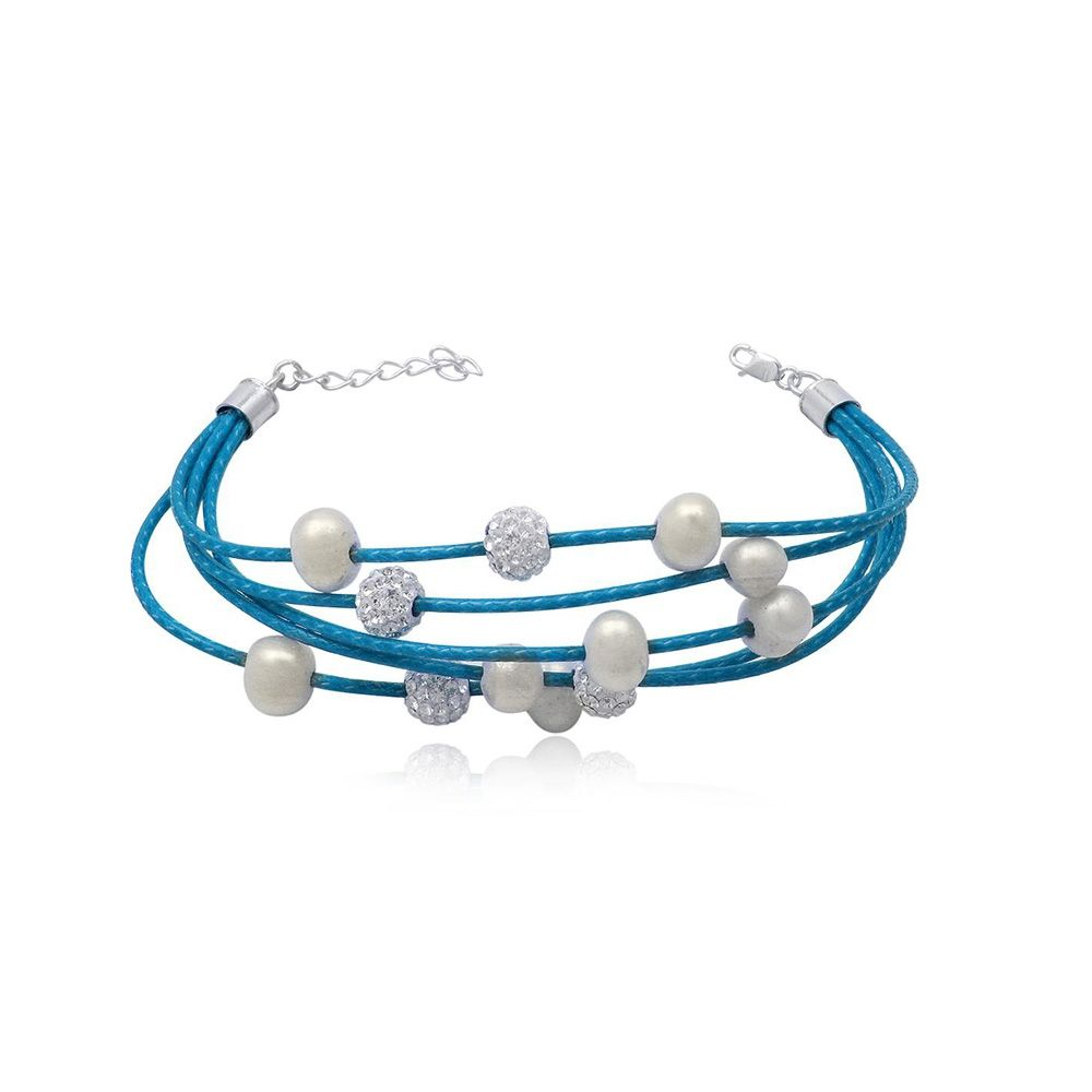 Blue 5 rows Leather Bracelet, White Pearls and Crystal