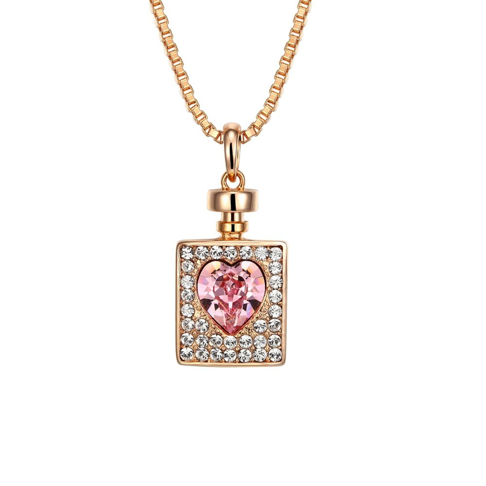Swarovski Crystal Elements Bottle and Heart Pendant and Rhodium Plated