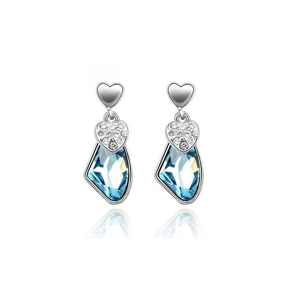 Swarovski - Hearts Earrings made with a blue Crystal from Swarovski