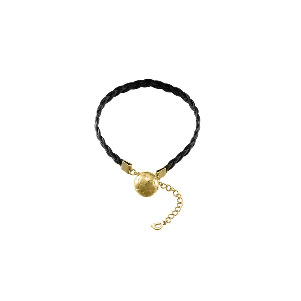 Yellow Gold and Black Leather Football Men Bracelet