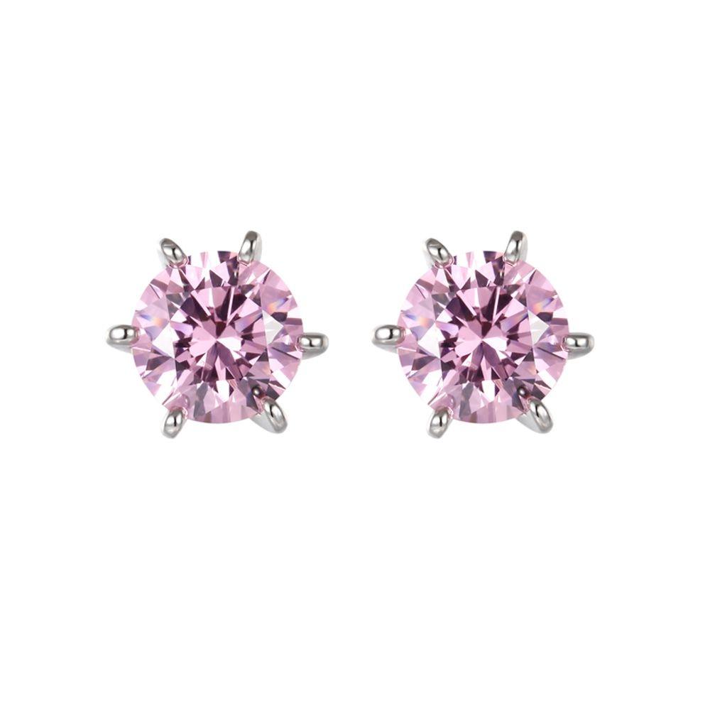 Swarovski - Pink Swarovski Zirconia Crystal Earrings and Silver Mounting