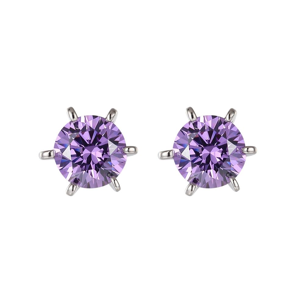 Swarovski - Purple Swarovski Zirconia Crystal Earrings and Silver Mounting