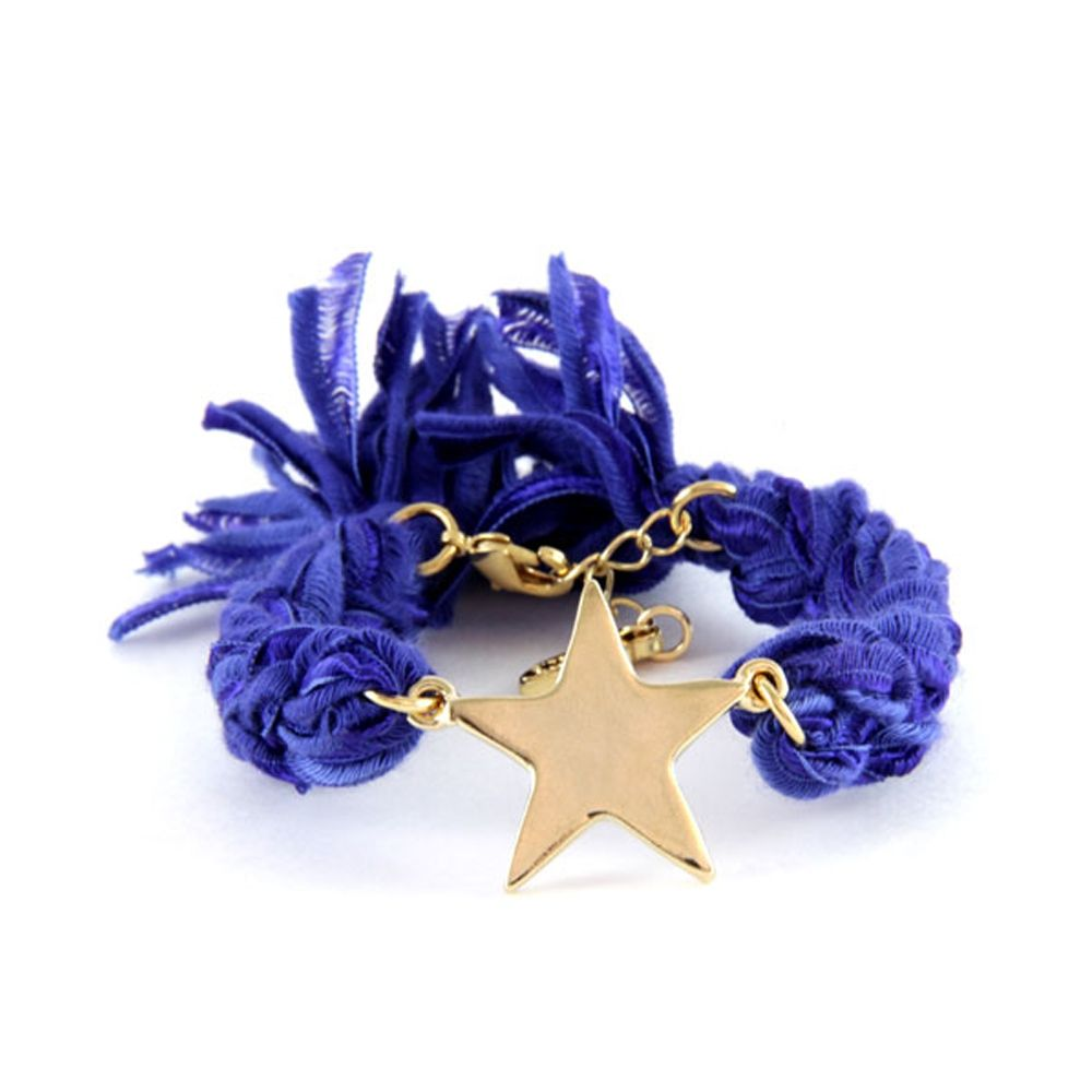 Ettika - Purple Ribbons and Yellow Gold Star Bracelet