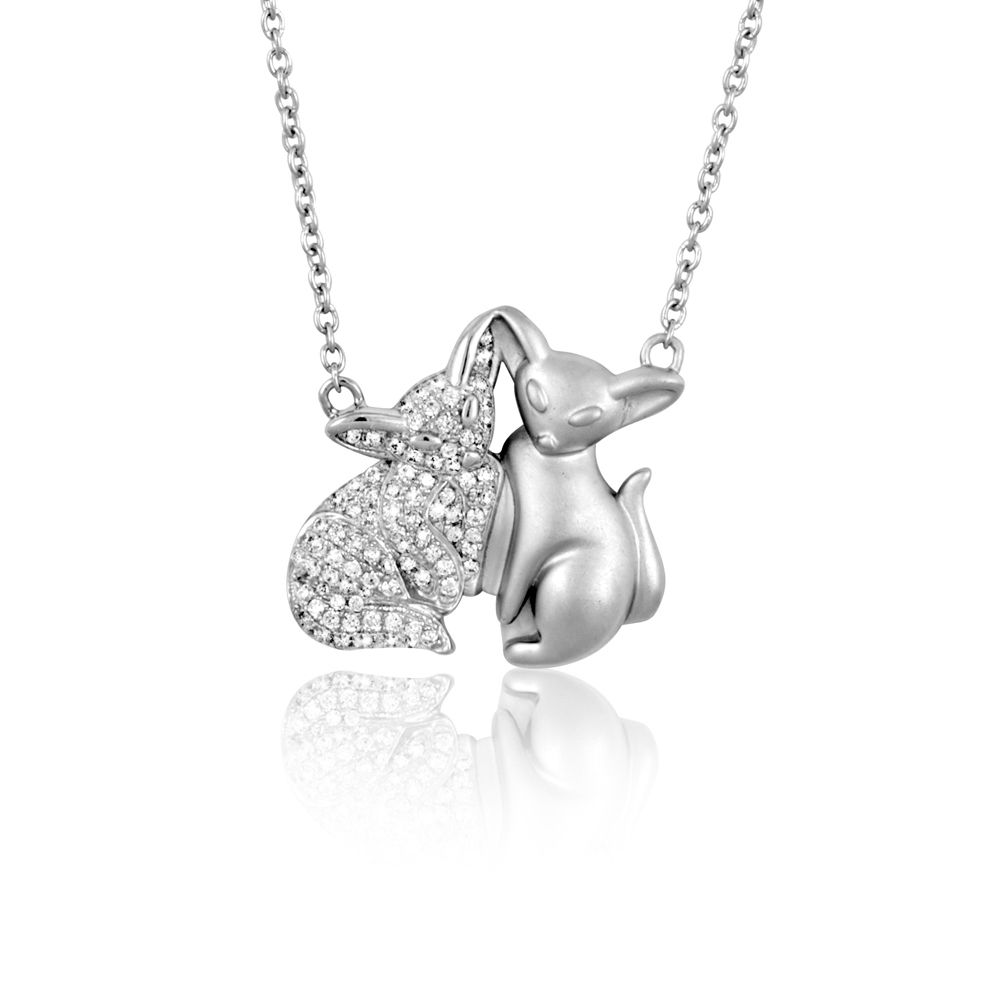Swarovski - White Swarovski Crystal Cubic Zirconia Fox Necklace and Silver Mounting