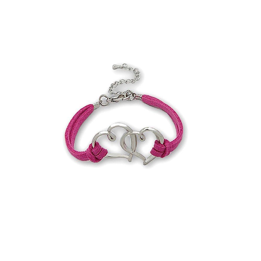 Dark Pink Double Heart Suedin Bracelet and Rhodium plated
