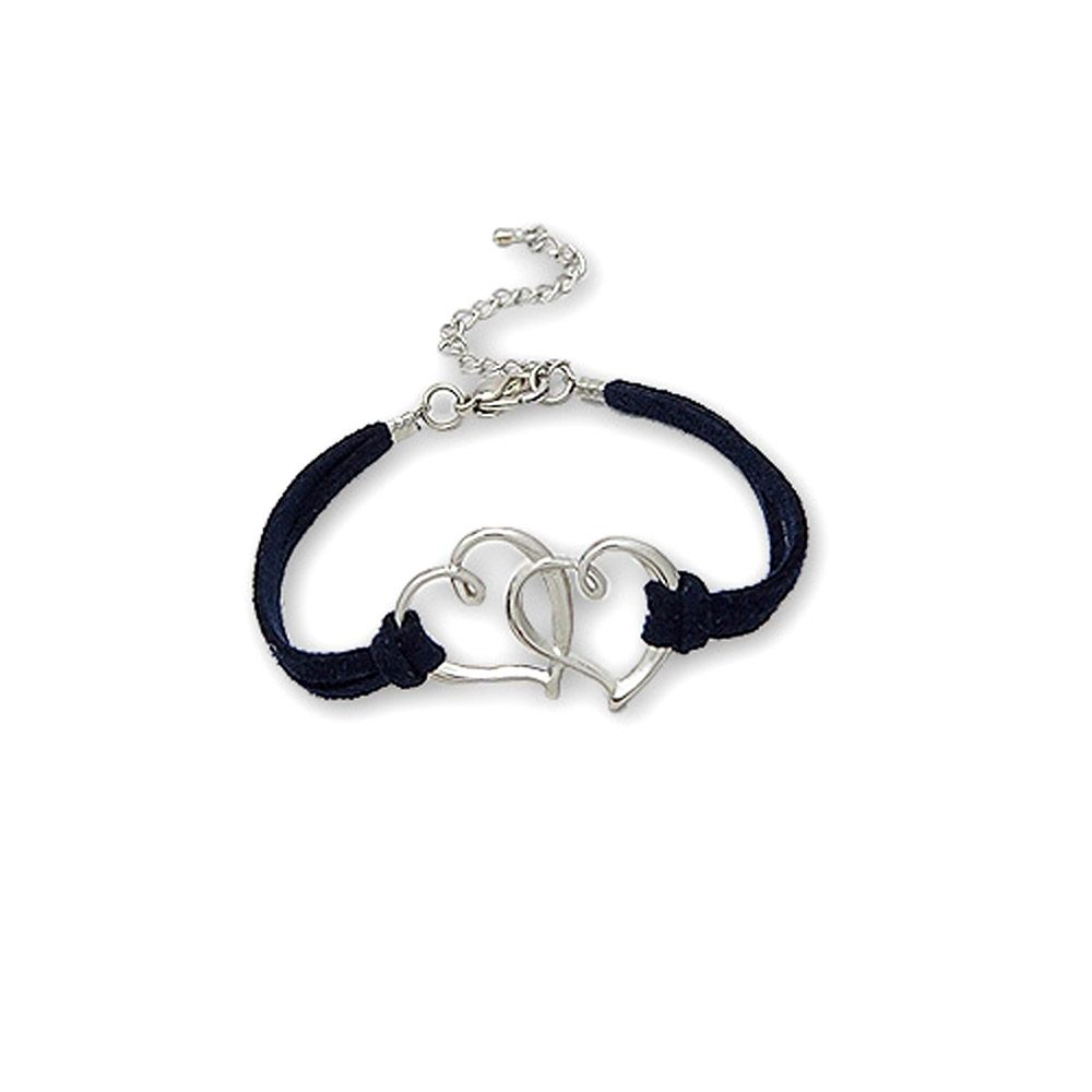 Navy blue Double Heart Suedin Bracelet and Rhodium plated