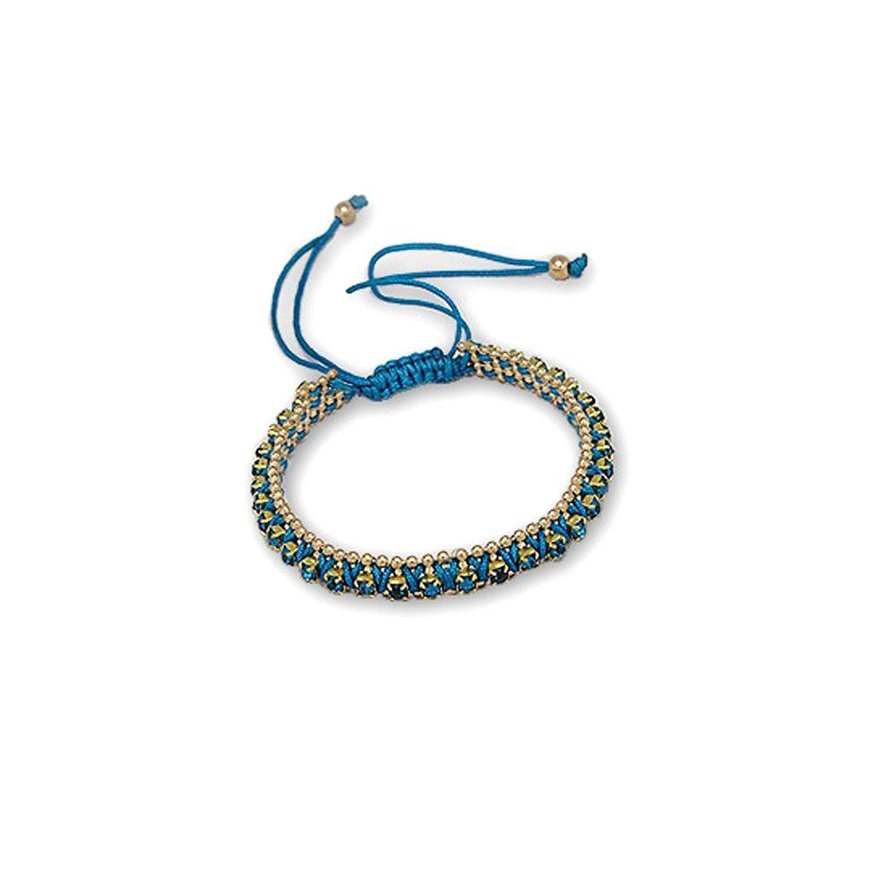 Blue Crystal Bracelet and Gold Steel