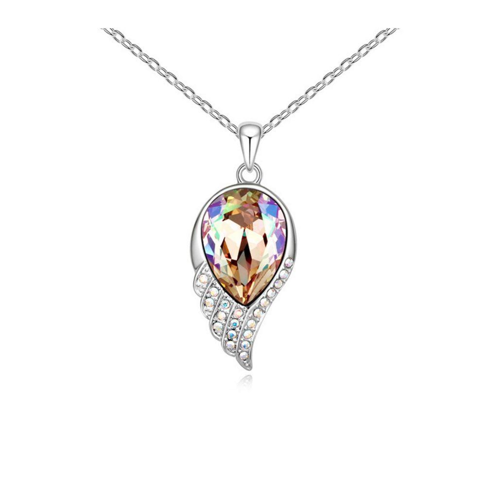 Swarovski - White Swarovski Element Crystal Feather Pendant and White Gold Plated