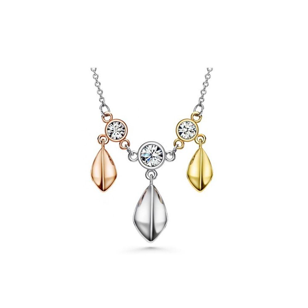 Swarovski - 3 Golds, White Swarovski Crystal Elements and Rhodium Plated Necklace