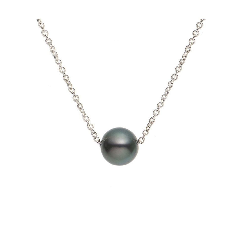 Black Tahitian Pearl Necklace and Sterling Silver 925