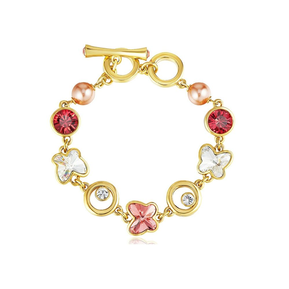 Swarovski - Pink and White Swarovski Crystal Elements, Pearls and Rhodium Plated Butterfly Bracelet