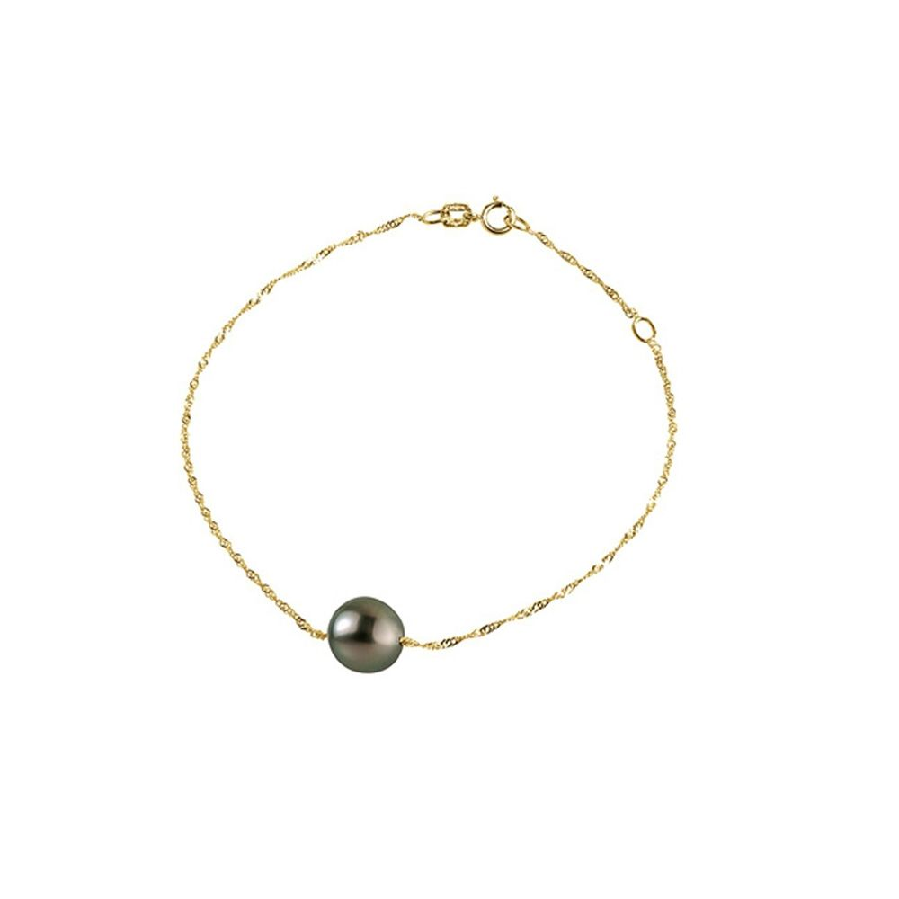 Black Tahitian Pearl Woman Bracelet and Singapore chain Yellow Gold 375