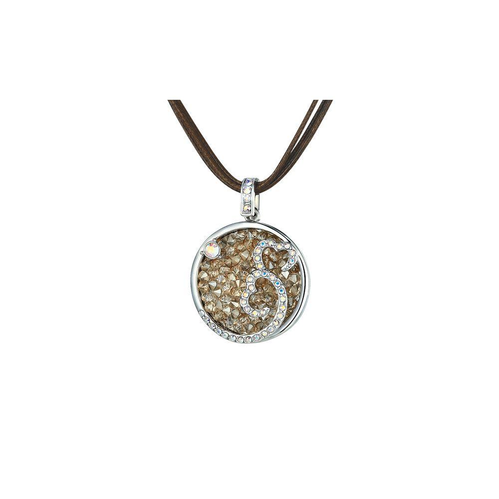 Swarovski - Champagne Swarovski Crystal Elements Hearts Necklace and Rhodium Plated