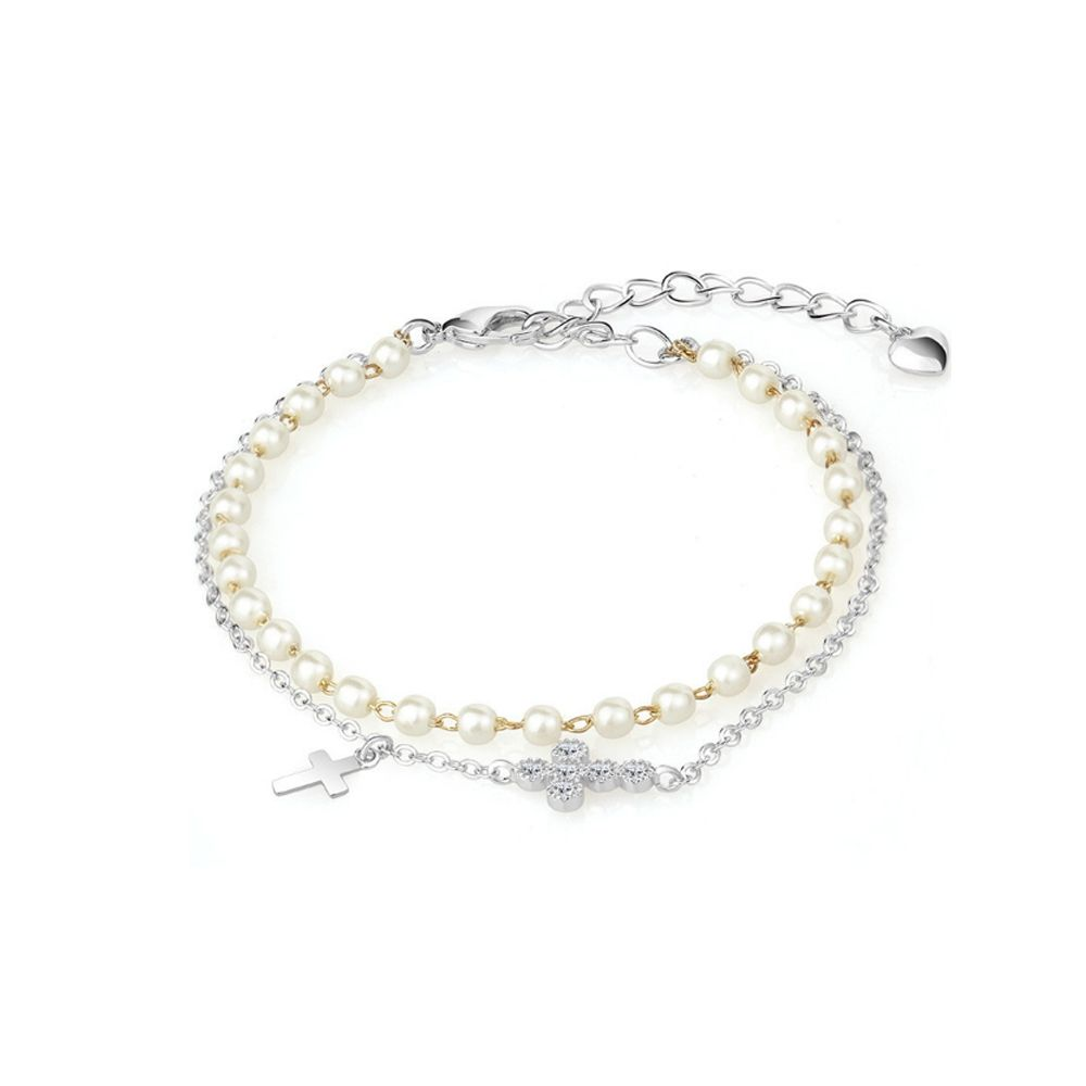 White Pearls, Cross Bracelet and Rhodium Plated