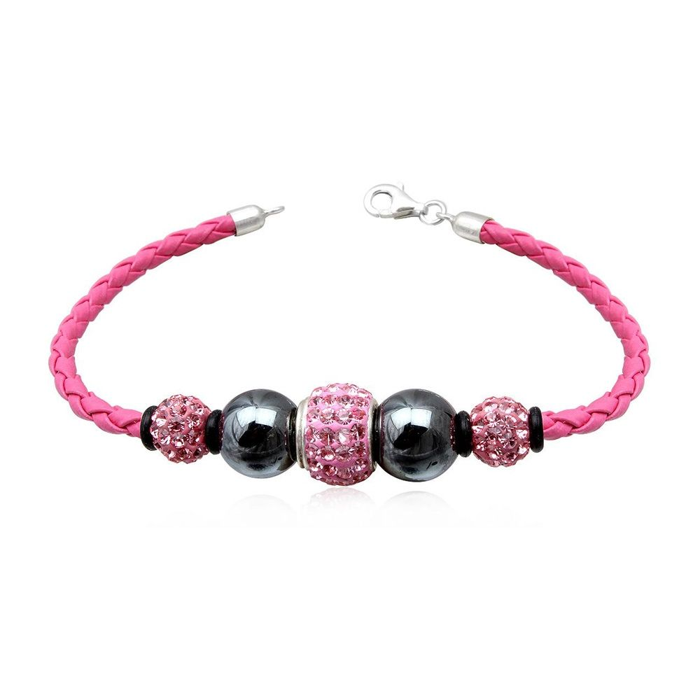 Pink leather bracelet, Black Hematite Pearl and Pink Crystal and Silver 925