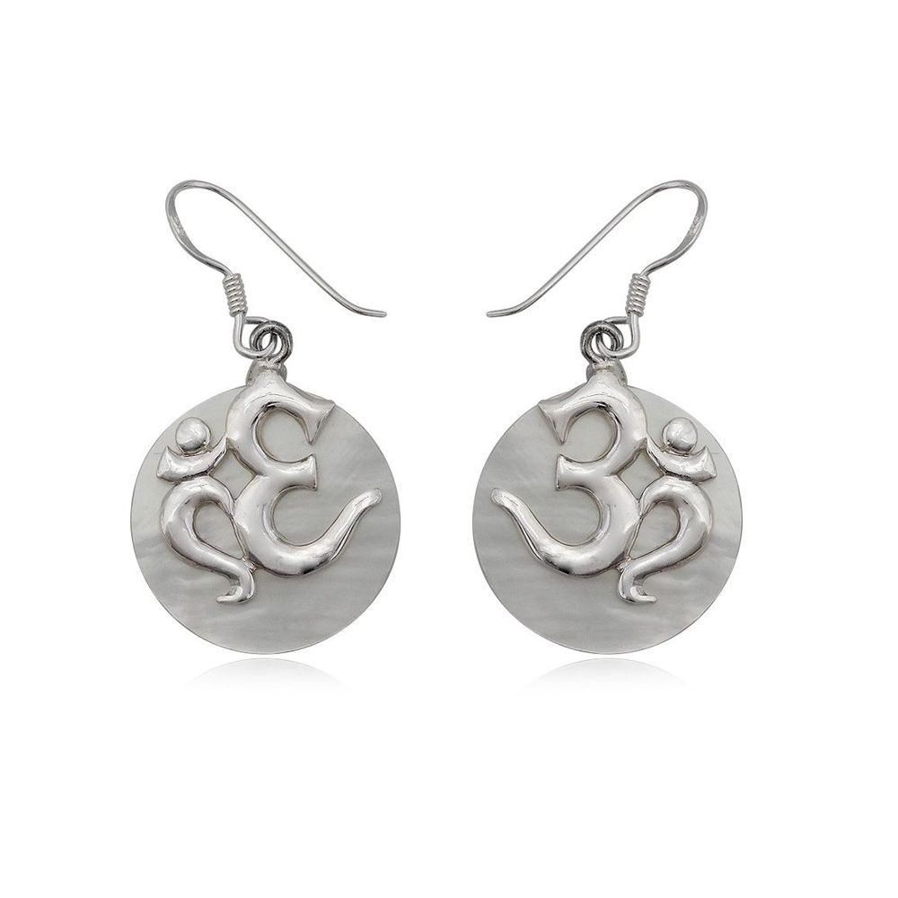 Mother of Pearl Drop Om Earring and Silver 925