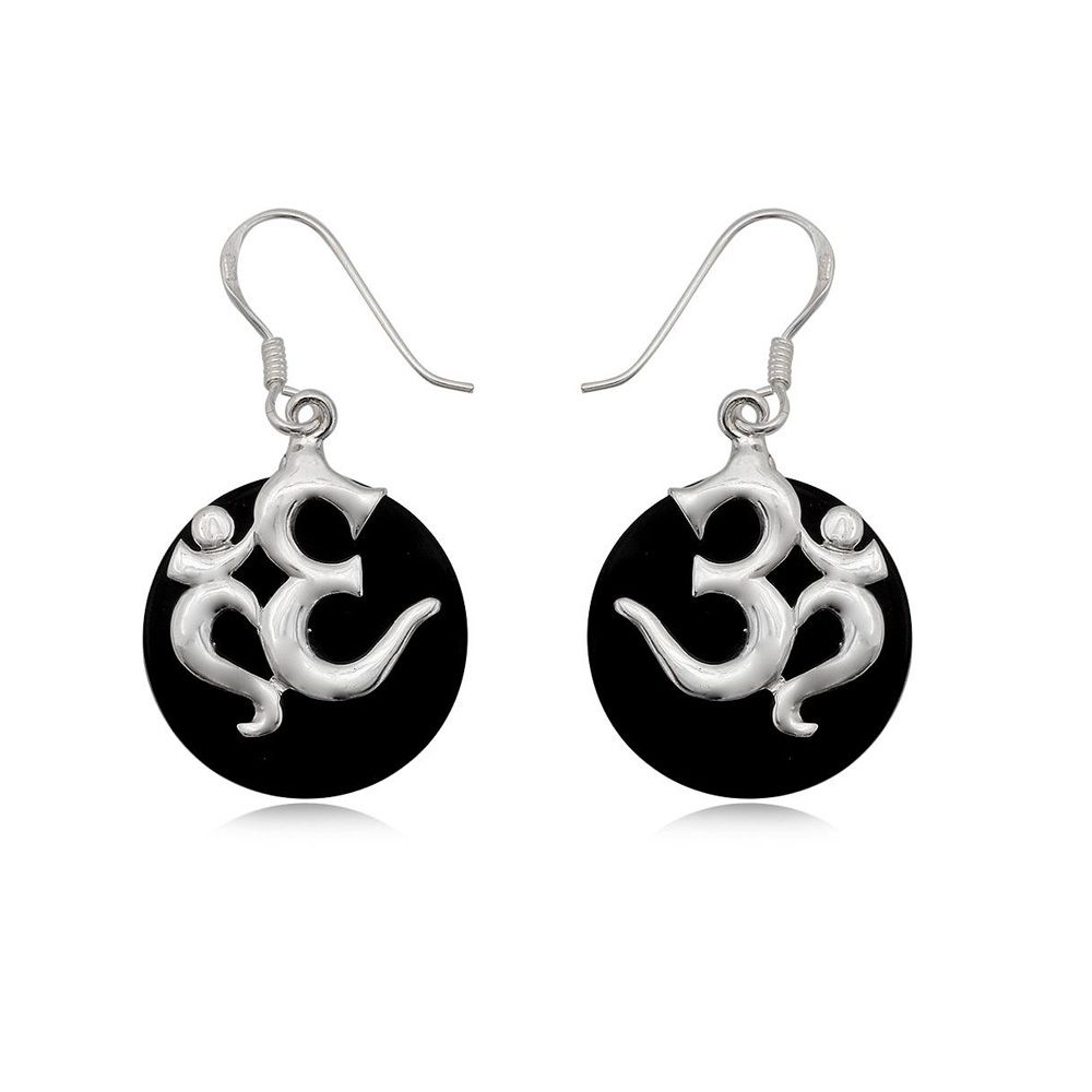 Black Mother of Pearl Drop Om Earring and Silver 925