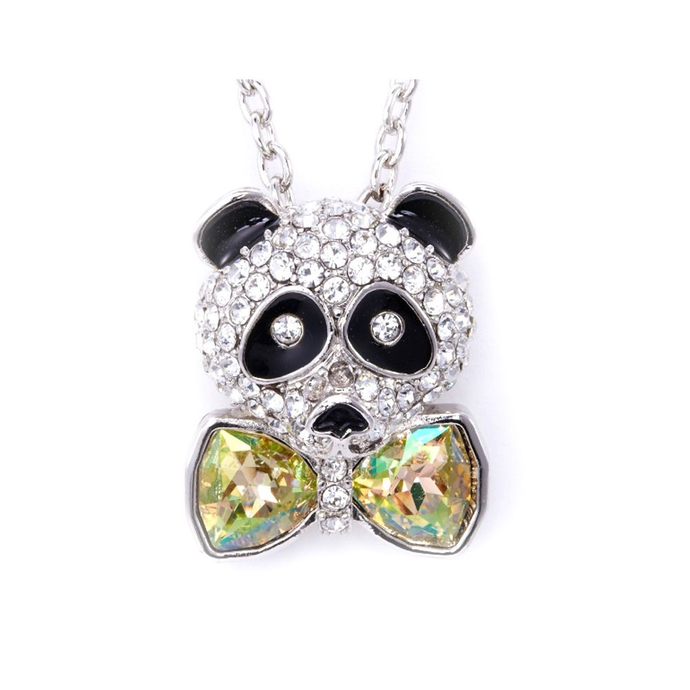 Swarovski - Yellow Swarovski Crystal Elements Bow Tie Panda Pendant and Rhodium Plated