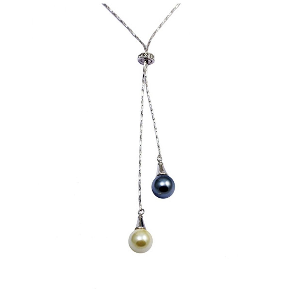 Swarovski - Black and White Double Pearl Pendant, Swarovski Element Crystal and Rhodium Plated