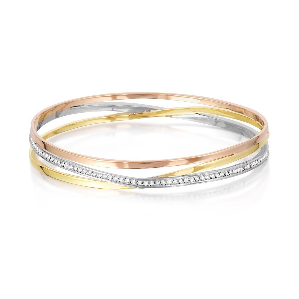 Swarovski - 3 Golds and White Swarovski Crystal Elements Child Bangle Bracelet