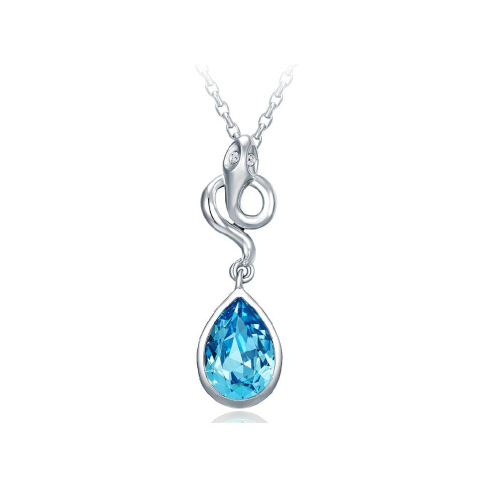 Swarovski - Blue Swarovski Crystal Elements Snake Pendant